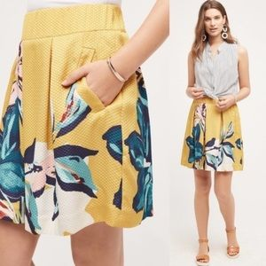 Anthropologie Maeve Yellow Floral Skirt Size 4